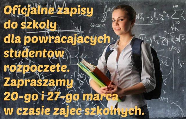 zapisy dla powracajacych studentow 2015